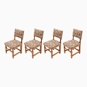 Antique Style Mahogany Cromwellian Dining Chairs, 1980s, Set of 4