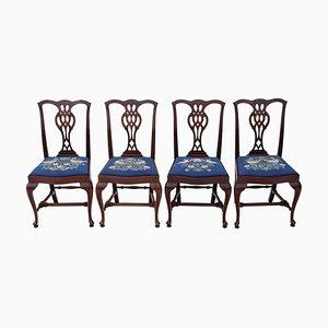 Chaises de Salon Renouveau Chippendale en Acajou, 1950s, Set de 4