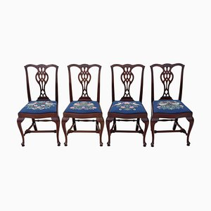 Mahogany Chippendale Revival Dining Chairs, 1950s, Set of 4
