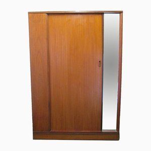 Vintage Teak Wardrobe with Sliding Door and Mirror
