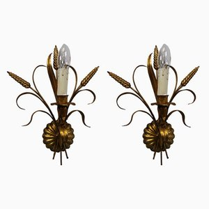 Hollywood Regency Gilt Metal Wall Lamps by Hans Kögl, 1960s, Set of 2