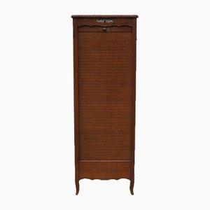 Industrial Oak Tambour Cabinet, 1930s