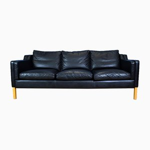 Danish Black Leather 3 Seater Sofa from Stouby, 1990s