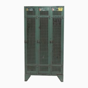 Industrial Steel Locker with 3 Doors, 1950s
