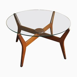 Tavolino da caffè Mid-Century in vetro e teak