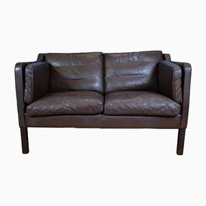 Mid-Century Brown Leather 2-Seater Sofa by Georg Thams for Vejen