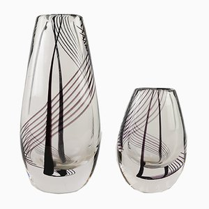 Boda Art Glass Vases by Vicke Lindstrand for Kosta, 1959, Set of 2