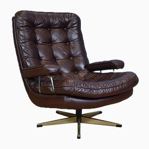 Danish Brown Leather Buttoned Swivel Armchair, 1970s