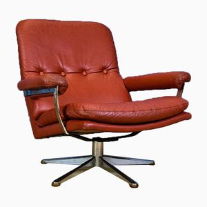 Mid-Century Red Leather Swivel Armchair by Werner Langenberg for ESA