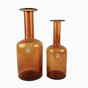 Flaschenförmige Vintage Glasvasen von Otto Breuer für Holmegaard, 2er Set