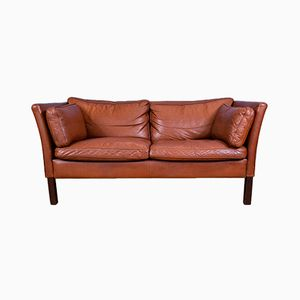 Mid-Century Danish Brown Leather 2 Seater Sofa from Stouby
