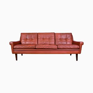 Red Leather 3 Seater Sofa by Svend Skipper for Skipper, 1960s