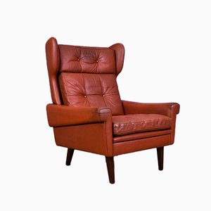 Red Leather Wingback Armchair by Svend Skipper for Skippers, 1970s