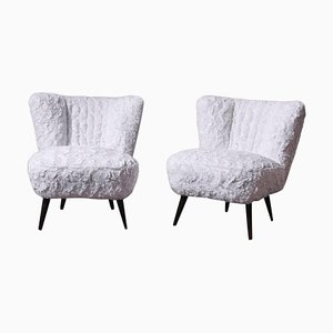 White Faux Fur Cocktail Chairs, Set of 2