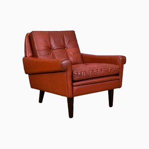 Danish Red Leather Armchair by Svend Skipper for Skipper, 1970s