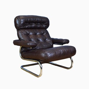 Danish Brown Leather & Chrome Metal Lounge Chair, 1970s