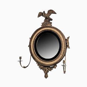 Antiker gewölbter Regency Spiegel mit vergoldetem Holzrahmen