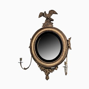 Antique Regency Giltwood Convex Mirror