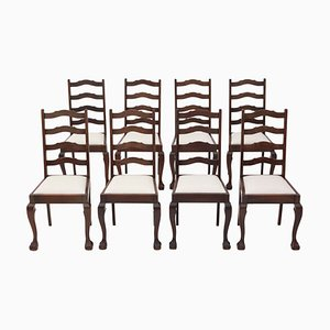 Vintage Mahogany Ladder Back Dining Chairs, Set of 8