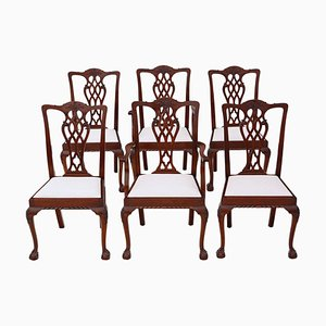 Vintage Mahogany Georgian Revival Dining Chairs, Set of 6
