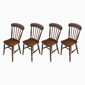 Antique Elm & Beech Kitchen Dining Chairs, Set of 4