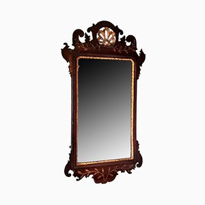 Antique George III Mahogany & Gilt Fret Mirror