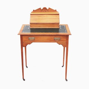 Antique Victorian Satinwood Leather Writing Table Desk