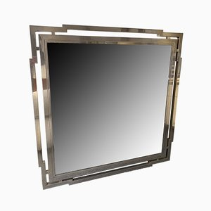 Großer italienischer Spiegel mit Rahmen aus verchromtem Metall von Mario Sabot, 1970er