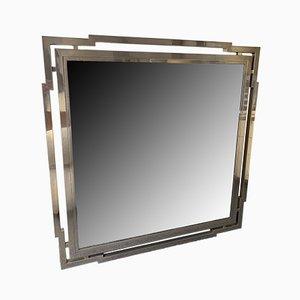 Specchio grande in metallo cromato di Mario Sabot, Italia, anni '70