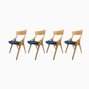 Mid-Century Blonde Oak Dining Chairs by Arne Hovmand Olsen for Mogens Kold, 1950s, Set of 4