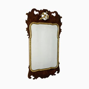 Antique Georgian Mahogany & Gilt Fret Mirror