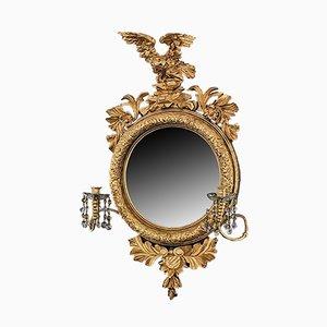 Espejo Regency antiguo convexo dorado