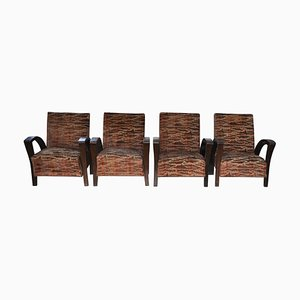 Art Deco Armchairs, 1920s, Set of 4