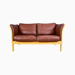 Danish Brown Leather 2 Seater Loveseat from Skalma, 1990s