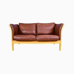Sofá de dos plazas danés de cuero marrón de Skalma, años 90