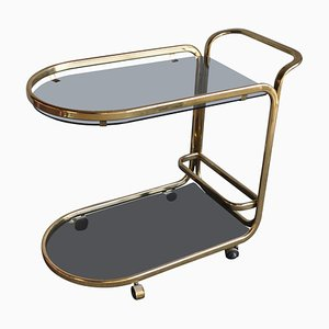 French Brass Two Tier Bar Cart, 1960s