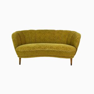 Danish Art Deco Yellow Velour 2-Seat Sofa