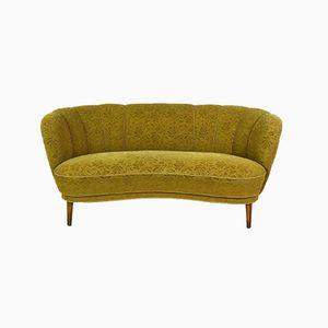 Gelbes dänisches 2-Sitzer Art Deco Sofa mit Veloursbezug