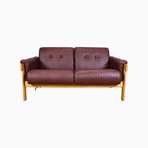 Mid-Century Swedish Maroon Leather & Oak 2 Seater Sofa