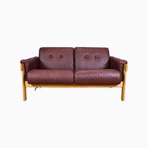 Schwedisches Mid-Century 2-Sitzer Sofa mit kastanienbraunem Lederbezug & Gestell aus Eiche