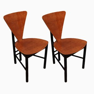 Mid-Century Italian Triangular Shaped Side Chairs, 1950s, Set of 2