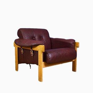 Schwedischer Vintage Sessel aus kastanienbraunem Leder & Gestell aus Eiche, 1970er