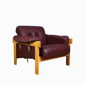 Vintage Swedish Maroon Leather & Oak Armchair, 1970s