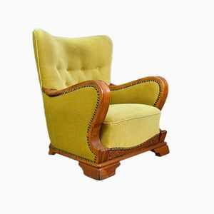 Art Deco Danish Yellow Velour & Oak Lounge Chair, 1930s