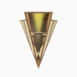 Dreieckige Amsterdamer Schule Wandlampe, 1920er