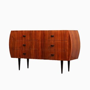 Italian Pearwood and Black Glass Commode, 1950s