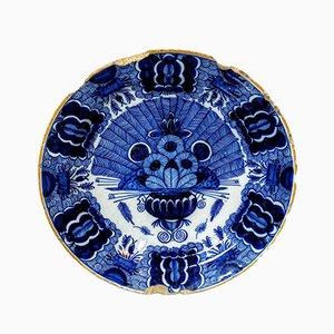Antiker niederländischer Teller mit Pfauen-Motiv