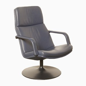 Navy Blue Leather F156 Swivel Chair by Geoffrey Harcourt for Artifort, 1980s