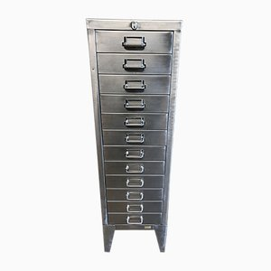 Vintage Industrial Stripped Metal A4 12-Drawer Filing Cabinet from Stor
