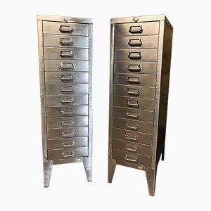 Vintage Industrial 12-Drawer Filing Cabinets from Stor, Set of 2